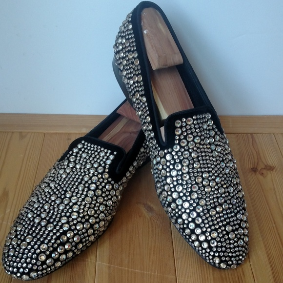Louis Leeman Other - Men's Louis Leeman Black Velvet Crystal Slippers
